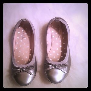 Girls silver ballet shoes